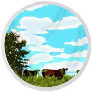Osage County Cows Round Beach Towel
