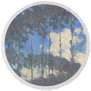 Oscar Monet   Poplars On The Epte Round Beach Towel