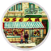 Oscar 's Candy Store Montreal Round Beach Towel