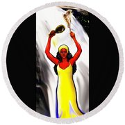 Oshun -goddess Of Love -4 Round Beach Towel by Carmen Cordova