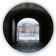 Oslo Castle Archway Round Beach Towel by Carol Groenen