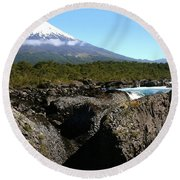 Osorno Volcano From Petrohue Falls Round Beach Towel