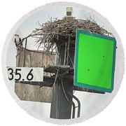 Osprey At Its Nest In A Navigation Marker Round Beach Towel