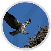 Osprey Landing Approach - Oregon Coast Round Beach Towel