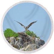 Osprey Landing On A Nest Round Beach Towel