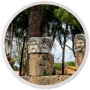 Ostia Antica - Theatre Marble Masks Round Beach Towel