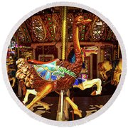 Ostrich Carousel Ride Round Beach Towel