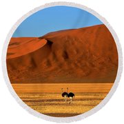 Ostriches At Sossusvlei Round Beach Towel