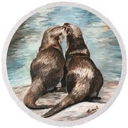 Otter Buddies Round Beach Towel