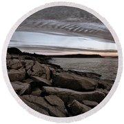 Otter Cliffs Dawn #5 Round Beach Towel