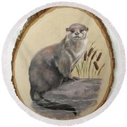 Otter - Growing Curiosity Round Beach Towel