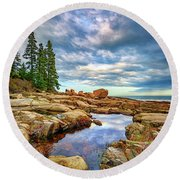 Otter Point Reflections Round Beach Towel