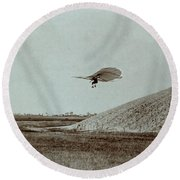 Otto Lilienthal Gliding Experiment Round Beach Towel
