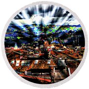Our City In The Andes Round Beach Towel