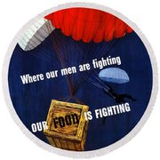 Our Food Is Fighting - Ww2 Round Beach Towel