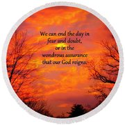 Our God Reigns Round Beach Towel