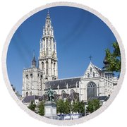 Our Lady Cathedral Antwerp Round Beach Towel