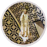 Our Lady Of Fatima Round Beach Towel
