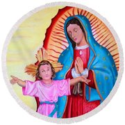 Our Lady Of Guadalupe And Child Round Beach Towel