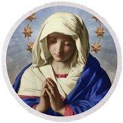 Our Lady Of Health Round Beach Towel