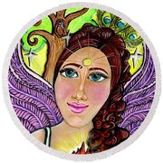 Our Lady Of Self-actualization Round Beach Towel