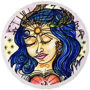 Our Lady Of Self Blessing Round Beach Towel