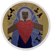 Our Lady Of Sorrows Round Beach Towel