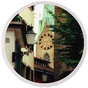 Our Ladys Minster Church In Zurich Switzerland Round Beach Towel