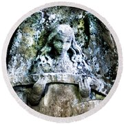 Our Little Angel Stone Carving Horizontal Round Beach Towel