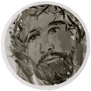 Our Lord Cries In Black And White Round Beach Towel