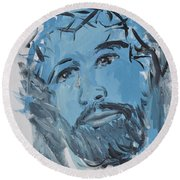 Our Lord Cries Round Beach Towel