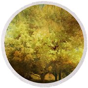 Our Town In Autumn Round Beach Towel