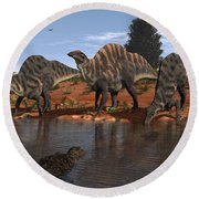Ouranosaurus Drink At A Watering Hole Round Beach Towel