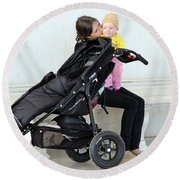 Out Of The Baby Stroller -- A Mother And Daughter Round Beach Towel