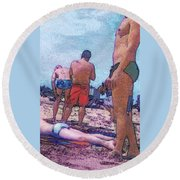 Out Of The Corner Of My Eye Round Beach Towel