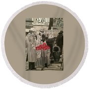 Out Of Work Round Beach Towel