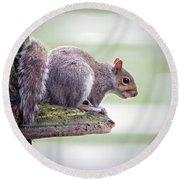 Out On A Ledge Round Beach Towel