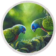 Out On A Limb - St. Lucia Parrots Round Beach Towel