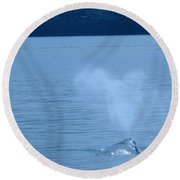 Out The Blow Hole  Round Beach Towel