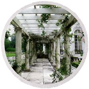 Out To The Garden Round Beach Towel
