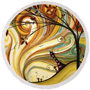 Out West Original Madart Painting Round Beach Towel by Megan Duncanson
