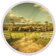 Outback Country Paddock Round Beach Towel