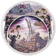 Outback Ruin Round Beach Towel