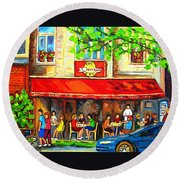 Outdoor Cafe On St. Denis In Montreal Round Beach Towel