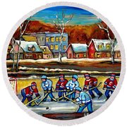 Outdoor Hockey Rink Round Beach Towel