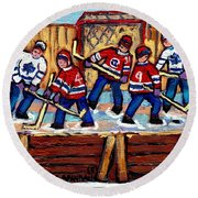 Pointe St Charles Hockey Rink Painting Leafs Vs Habs Quebec Winter Scene Hockey Art Carole Spandau Round Beach Towel