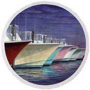 Outer Banks Line-up Round Beach Towel