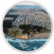 Outer Richmond San Francisco Aerial Round Beach Towel