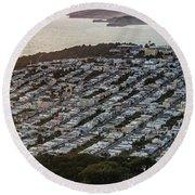Outer Richmond San Francisco Aerialouter Richmond San Francisco Aerial Round Beach Towel