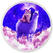 Outer Space Galaxy Kitty Cat Riding On Llama Round Beach Towel